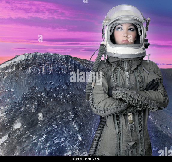 astronaut spaceship aircraft helmet fashion woman mars moon planet - Stock Image