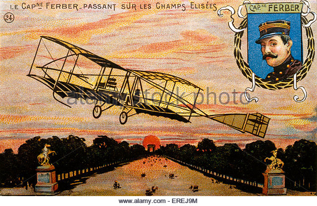 Captain Ferdinand Ferber, French pioneer aviator ( 8 February 1862 - 22 September 1909) - postcard of the early - Stock Image