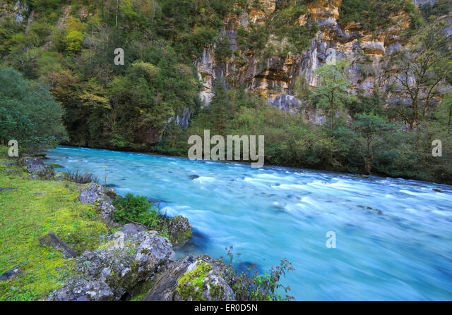 River in Caucasus mountains, nature water motion Abkhazia, Georgia - Stock Image