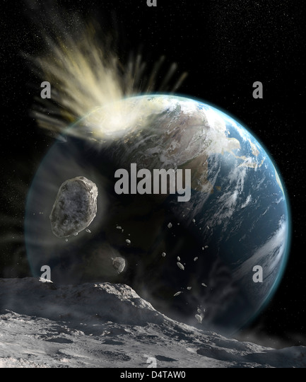 A catastrophic comet impact on Earth. - Stock Image