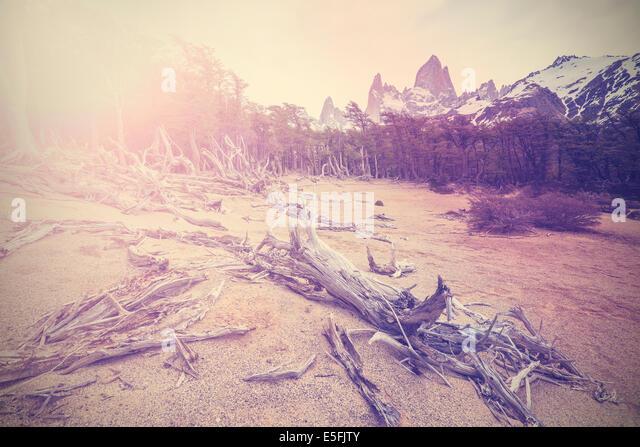 Vintage mountain background with Fitz Roy Range, Argentina - Stock Image