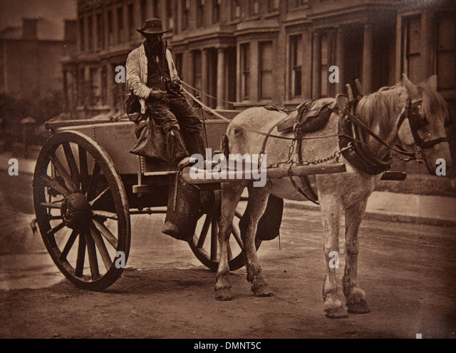 Photograph showing 'The Water-Cart' in the Street Life in London book - Stock-Bilder