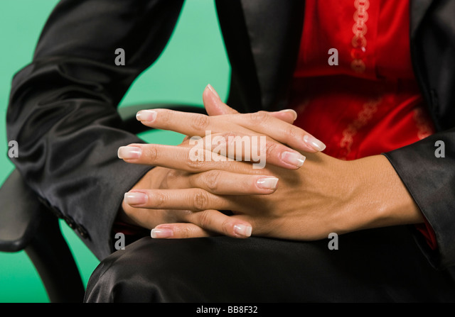 Woman in her work-related everyday life, posture, body language - Stock-Bilder