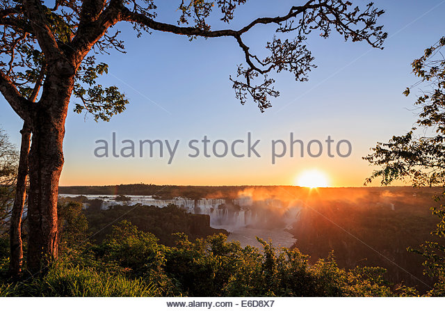 South America, Brazil, Parana, Iguazu National Park, Iguazu Falls against the evening sun - Stock-Bilder
