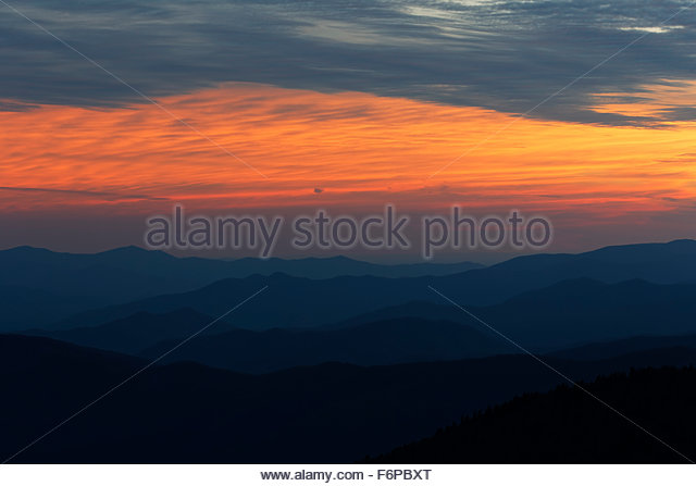 Sunset, Great Smoky Mountains National Park - Stock Image