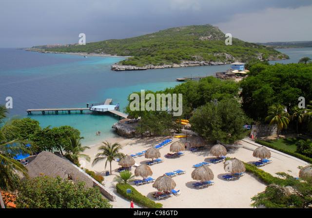 Curaçao Netherlands Antilles Dutch Piscadera Bay Hilton Curaçao hotel resort Caribbean Sea oceanfront - Stock Image