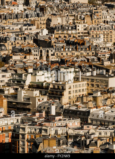 Aerial view of congested buildings in Paris, France. - Stock Image