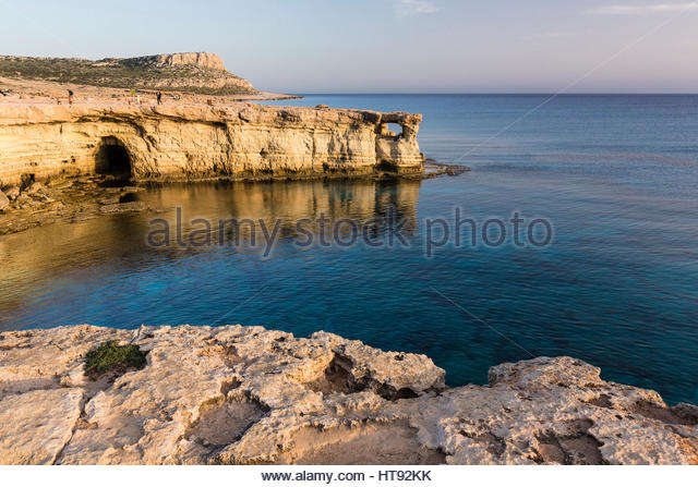 Coastline with Caves, Cape Greco, National Forest Park, Agia Napa, Cyprus - Stock Image