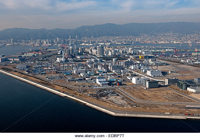 Aerial view of Port Island from Hyogo Prefecture, Kobe City - Stock Image