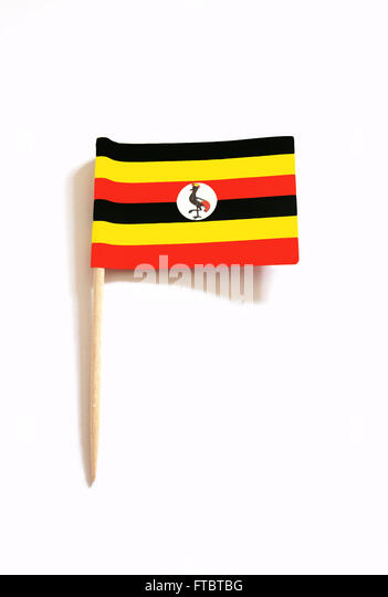toothpick with the flag of Uganda - Stock Image