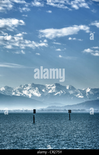 a lake in the Alps, cold and empty, with marine labels - Stock Image