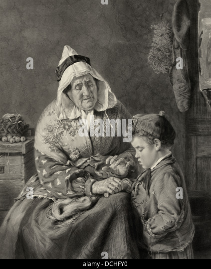 Always tell the truth - A woman admonishing a young boy to always tell the truth - Stock Image