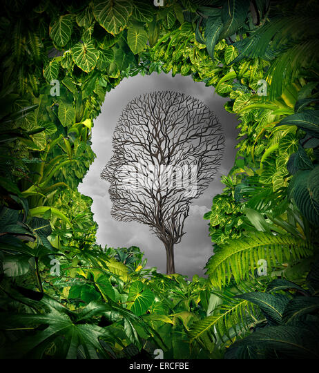 Inside depression concept and inner feelings of distress as a mental health symbol with a healthy green plant jungle - Stock-Bilder