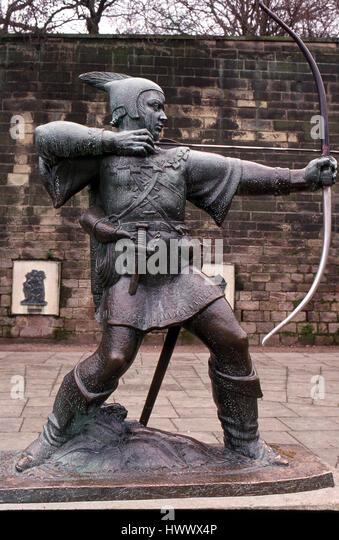 bronze statue of Robin Hood in Nottingham - Stock Image