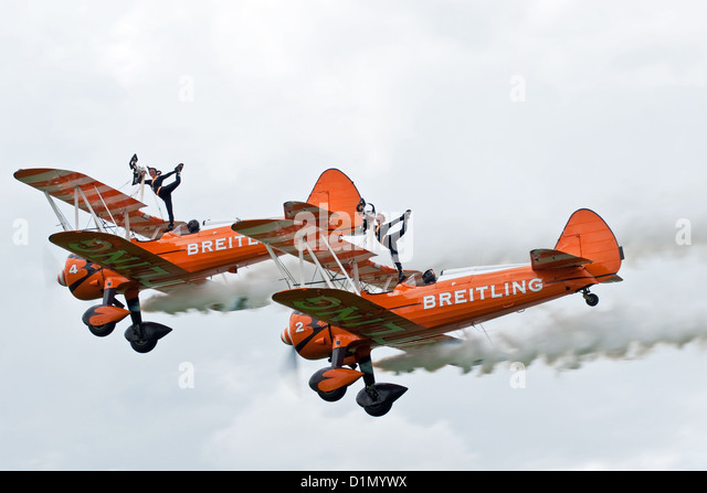 The Breiting Team wing-walkers pose for the crowd at the Sywell Air Show - Stock Image