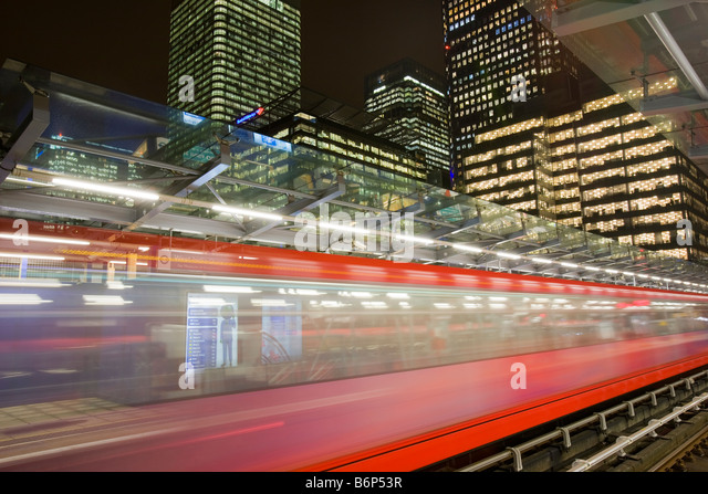 Banking and financial sector buildings at Canary Wharf in London UK from the Docklands Light Railway - Stock Image