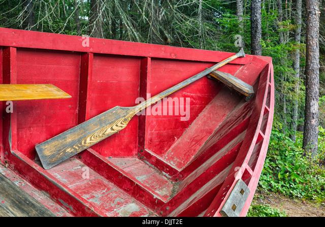 A 'Pointer' row boat, Algonquin Logging Museum, Algonquin Provincial Park, Ontario, Canada - Stock Image