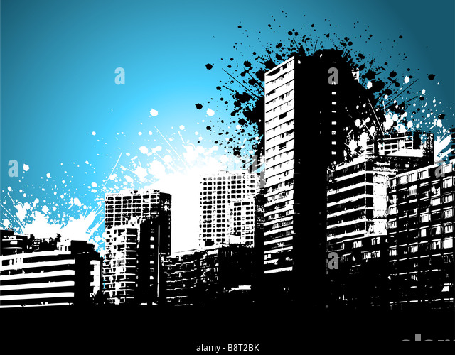 Skycrapers on a grunge style background - Stock Image