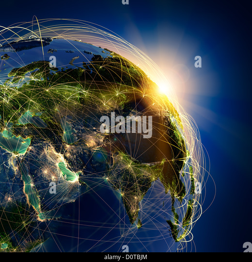 The main air routes of the Middle East - Stock Image