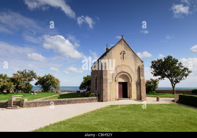 The Sailors Chapel at the small fishing port of St Vaast-La Hougue, Normandy, France. - Stock Image