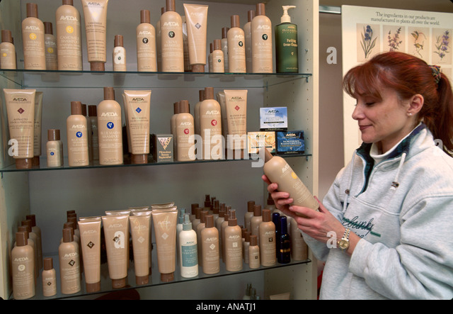 New Jersey Upper Montclair salon hairstylist Aveda hair care products - Stock Image