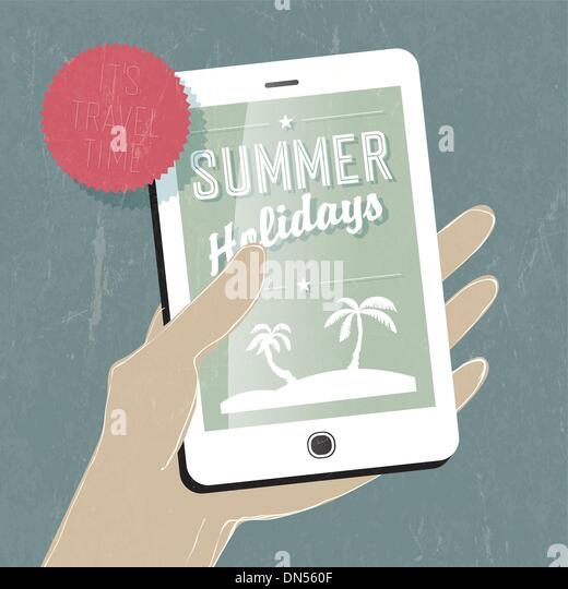 Summer travel conceptual illustration. Smart phone in hand. Vect - Stock-Bilder