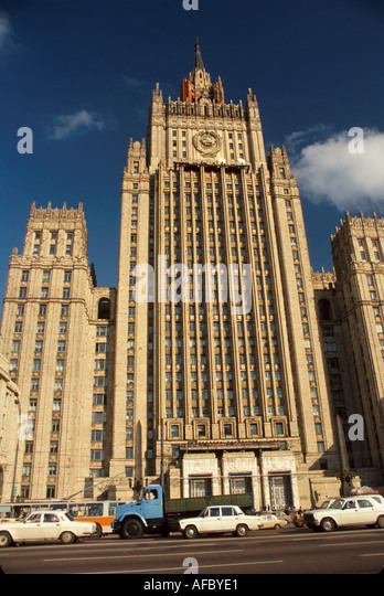 Russia former Soviet Union Moscow Foreign Ministry Building Stalinist style communism - Stock Image