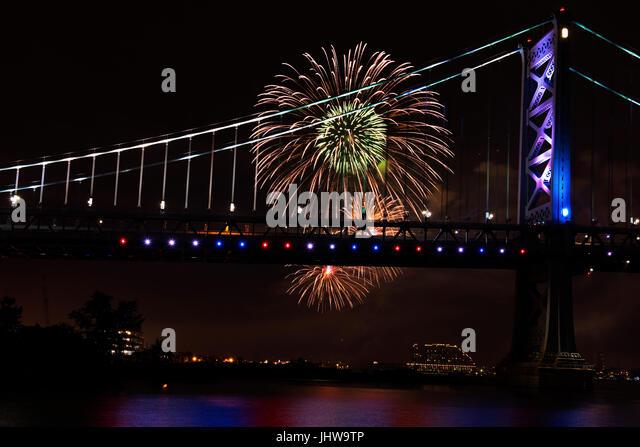 Fireworks Ben Franklin Bridge Philadelphia - Stock Image