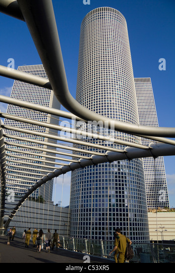 Azrieli Towers and Kyriah footbridge Tel Aviv Israel - Stock Image