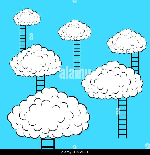 Clouds with stairs, vector illustration - Stock Image