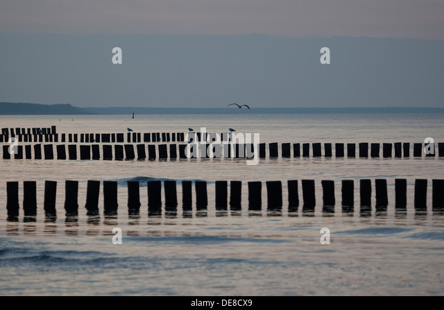 Baltic Sea, breakwater, groin, jetty, coast protection, shore protection, seacoast, seashore, Buhnen, Lahnungen, - Stock-Bilder