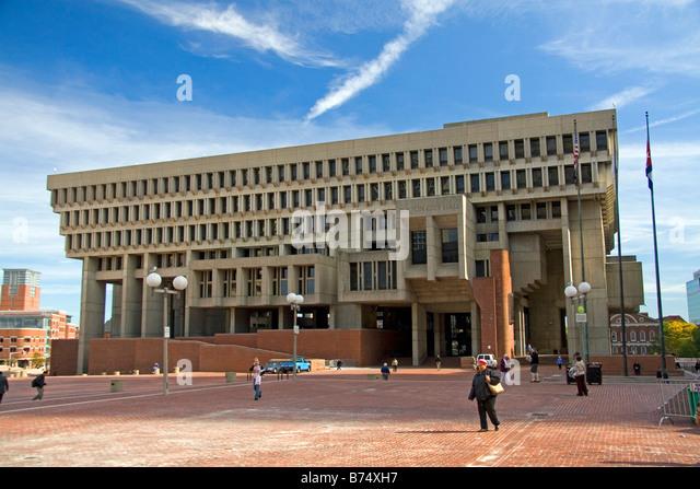 Boston City Hall located in Government Center plaza in downtown Boston Massachusetts USA - Stock Image