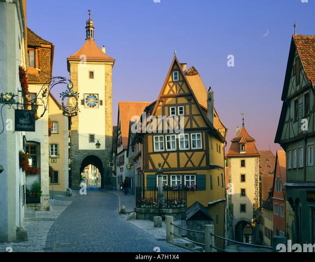 DE - BAVARIA: Plönlein at Rothenburg-ob-der-Tauber - Stock Image
