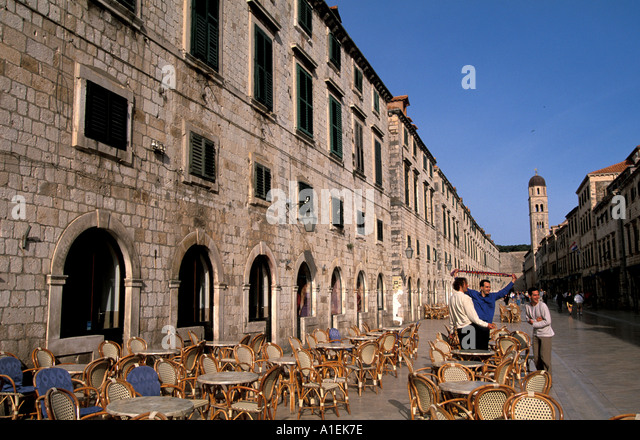 Dubrovnik Croatia Old Town Walled City Outdoor Cafe - Stock Image