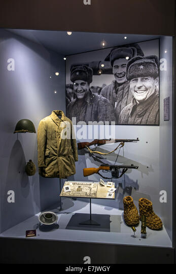 Russian uniform and weapons in the Bastogne War Museum about World War Two Battle of the Bulge in the Belgian Ardennes, - Stock Image