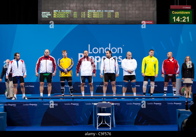 Competitors in the Men's +105kg London Prepares Weightlifting International Invitational, 10–11 Dec 11, ExCel, - Stock Image