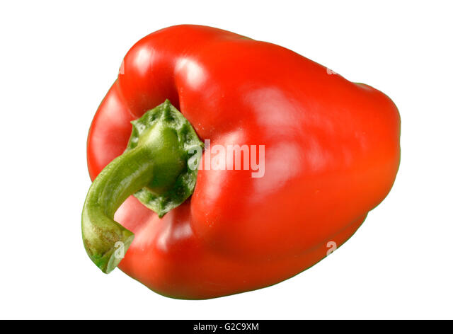 Red bell pepper cut-out - Stock Image