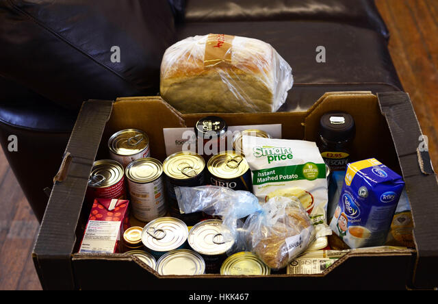 Food box Food bank, Cornwall UK. - Stock Image