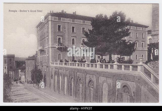 Grand Hotel Brufani & Viale Indipendenza, Perugia, Italy - Stock Image