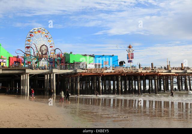 Santa Monica Pier, Pacific Park, Santa Monica, Los Angeles, California, United States of America, North America - Stock Image