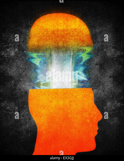 creativity concept illustration with orange human head - Stock-Bilder