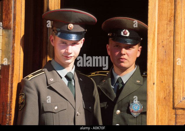 Russia former Soviet Union St. Petersburg Institute of Military Transport soldiers at entrance - Stock Image