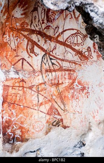 Prehistoric rock art, Misool, West Papua, Indonesia. - Stock Image