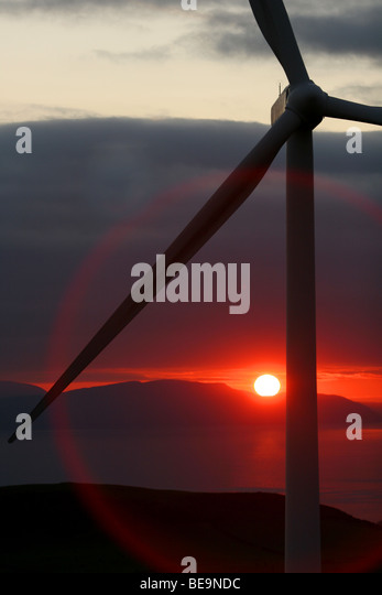 Wind Farm  - Ardrossan Scotland - ring caused by the sun - Stock Image
