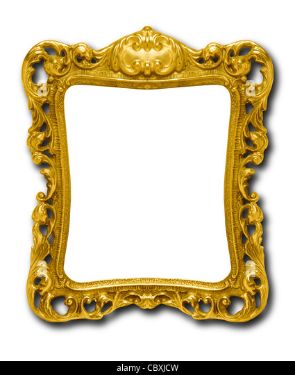 Ornate gold picture frame silhouetted against white background with drop shadow - Stock-Bilder