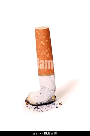Cigarette butt over white background. Stop smoking concept - Stock-Bilder