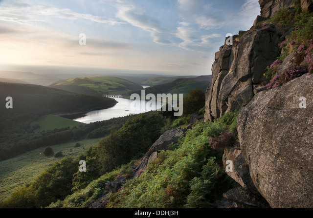A view of Ladybower Reservoir and Derwent Reservoir, viewed from Bamford Edge, Peak District, Derbyshire - Stock Image