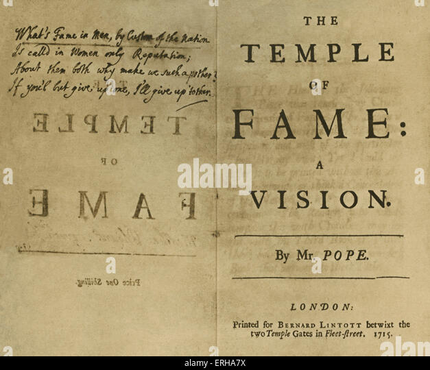 Title page: 'The Temple of Fame, a Vision', by Alexander Pope (1688-1744), printed in London, 1715. Pope - Stock Image