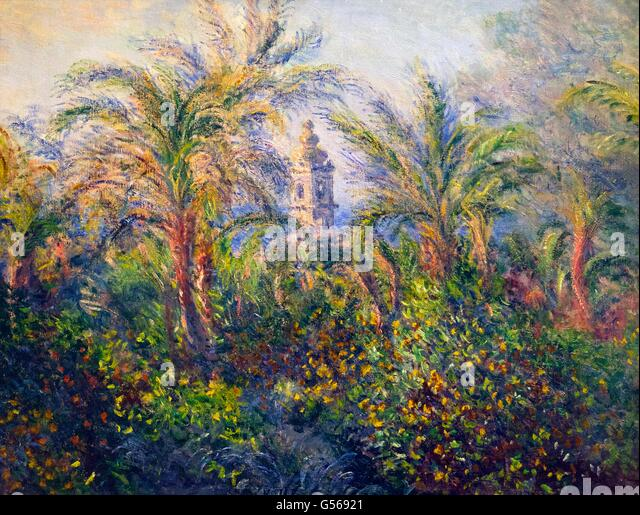 Garden in Bordighera, Impression of Morning, by Claude Monet, 1884, State Hermitage Museum, Saint Petersburg, Russia - Stock Image
