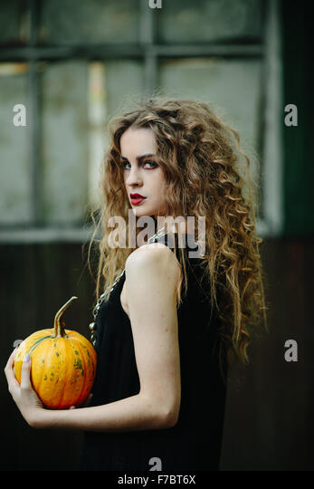 Vintage woman as witch - Stock-Bilder